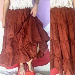 VINTAGE Rust Layered Circle Square Dancing Skirt